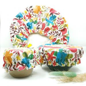 couvre bol tissu fleurs
