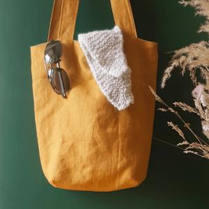 Tote bag courses ou sortie en 100% lin français zozoï création