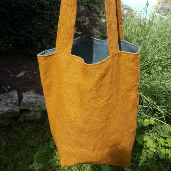 Tote bag 100% lin zozoï création coloris moutarde et vert amande