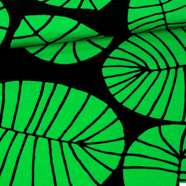 Culotte menstruelle coton biologique motifs feuilles vert/noir