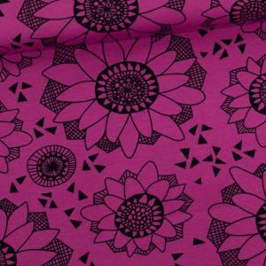 Culotte menstruelle coton biologique motifs fleurs rose/noir/noir